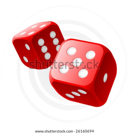 Vector red dices - stock vector