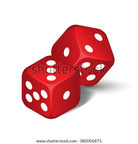 Vector red dices isolated on the white background - stock vector
