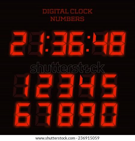 Vector red digital clock numbers. - stock vector