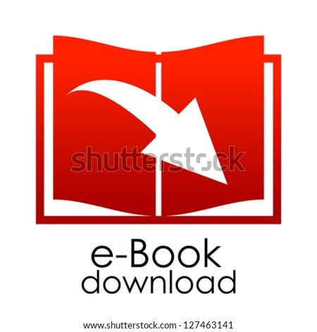 Vector red e-book emblem - stock vector