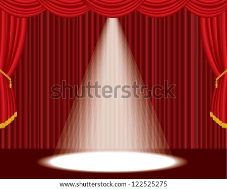 vector red empty stage with one big spot light - stock vector