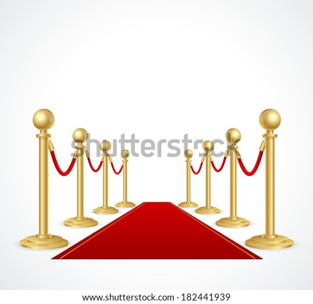 Vector red event carpet isolated on white - stock vector