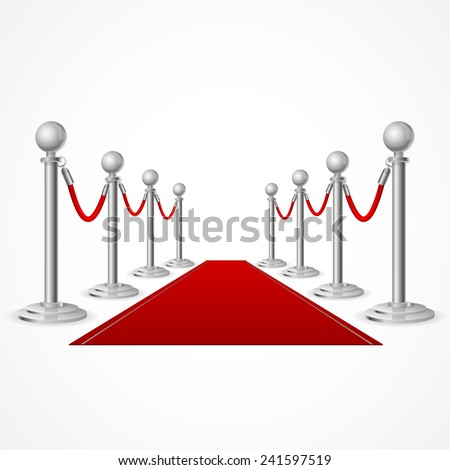 Vector red event carpet isolated on white background - stock vector