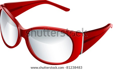 vector red eye glasses - stock vector