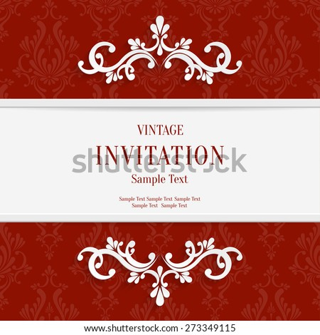Vector Red Floral 3d Christmas and Invitation Cards Background - stock vector