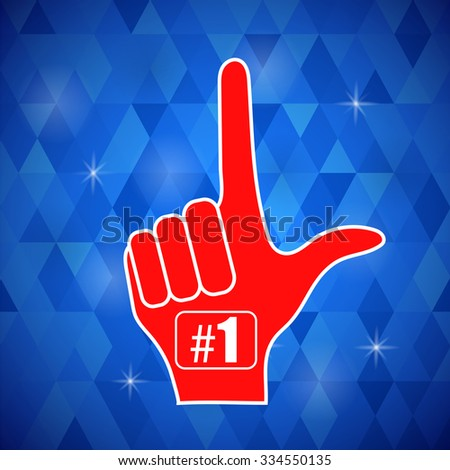 Vector Red  Foam Finger Isolated on Blue Polygonal Background