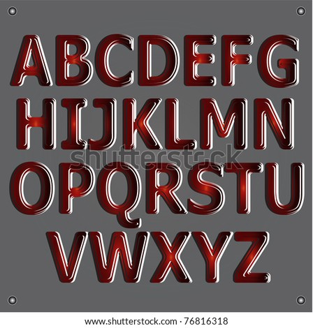 Vector red font - stock vector