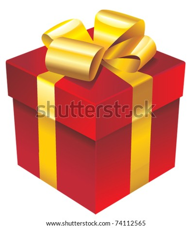 Vector red gift box with golden ribbon and bow - stock vector