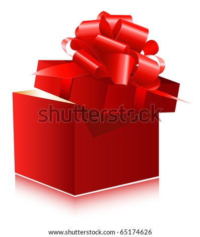 Vector. Red gift box with red ribbon and bow.