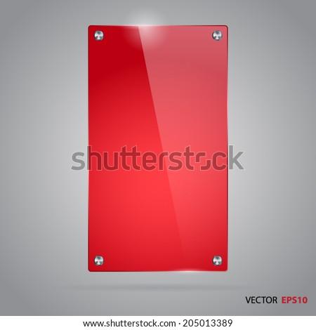 Vector red glass frame - stock vector