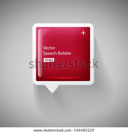 Vector red glossy square 3d plastic speech bubble - stock vector