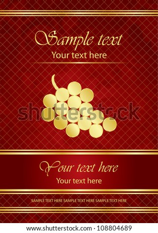 Vector red & gold label with grapes - stock vector