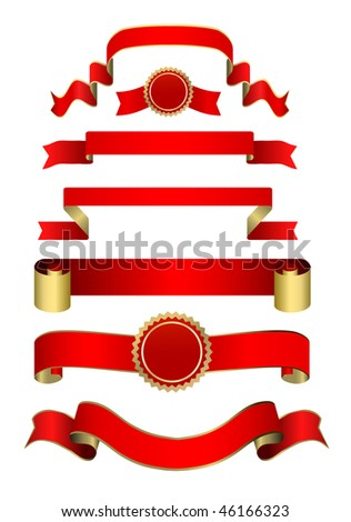 vector red - golden banners and tags  set