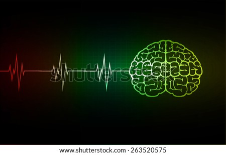 vector red green yellow brain processes technology, creative idea concept. wave - stock vector