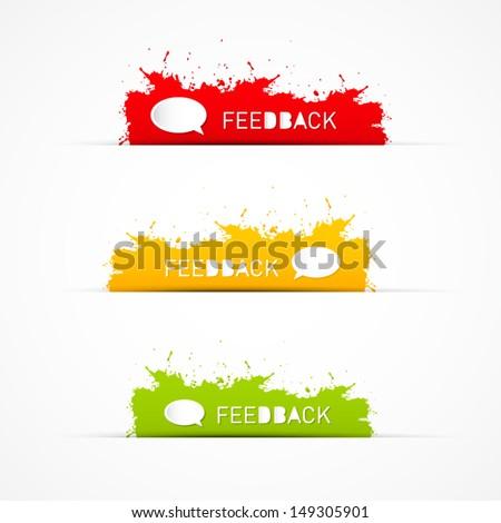Vector Red, Green, Yellow Feedback Splash, Blobs, Icons - stock vector