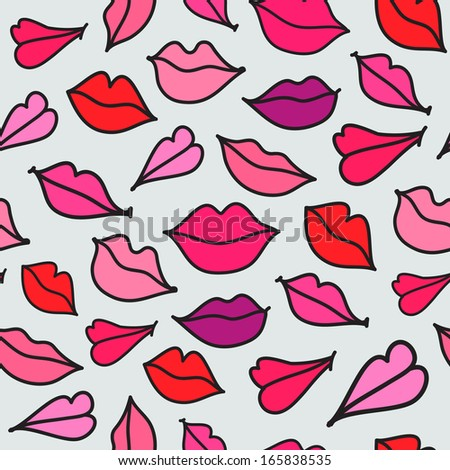vector red hand drawn kisses lips seamless background - stock vector