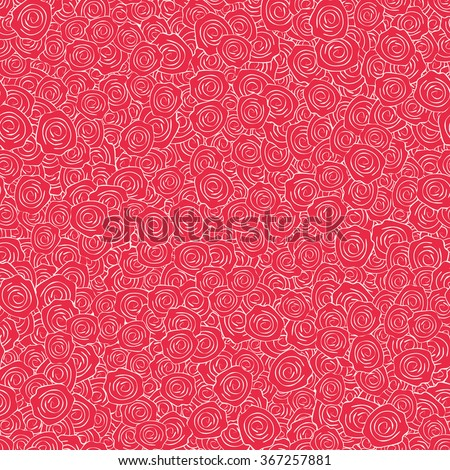 Vector Red Handdrawn Roses Seamless Pattern - stock vector