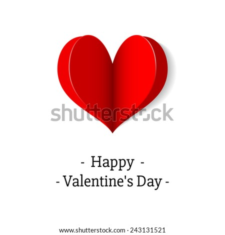 Vector red heart origami. Design elements for holiday cards. - stock vector