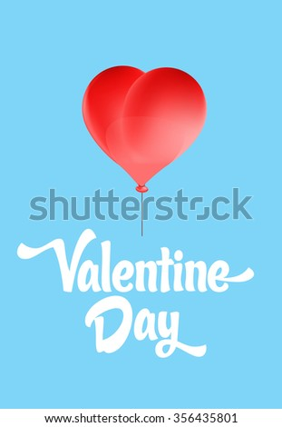 Vector red heart-shaped balloons set. Love elements with text ' valentine day' for a Valentine day card. - stock vector
