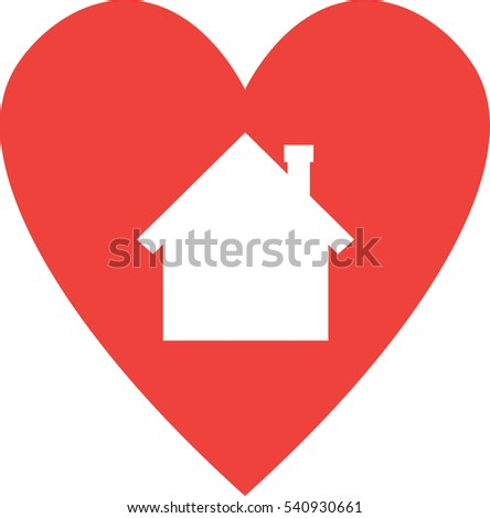 Vector red heart with white house silhouette.