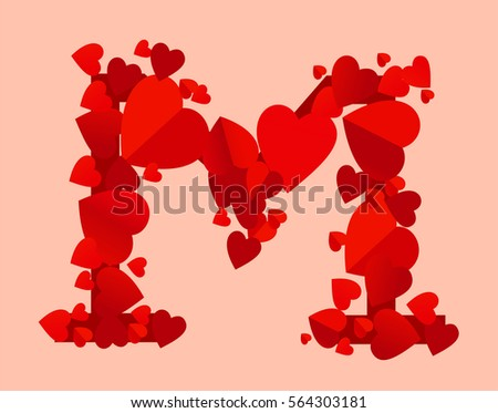 Vector Red Hearts Alphabet Letter M Design
