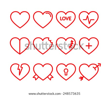 Vector red hearts icons set. Red lined hearts - stock vector