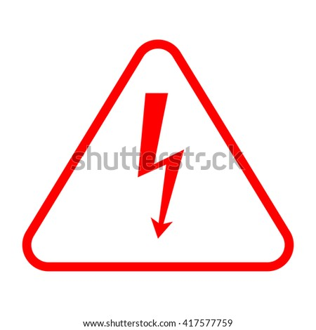 Vector red high voltage sign, danger isolated element - stock vector