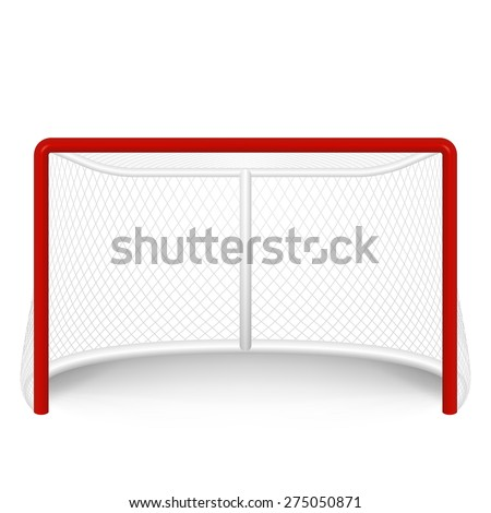 Vector red hockey goal, net. Isolated on white. Vector EPS10 illustration.