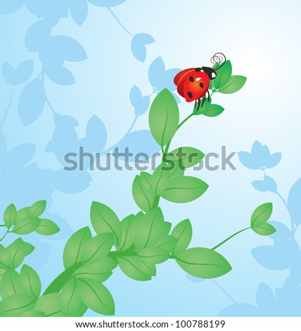 vector red ladybird on the tree branch on  sky background - stock vector