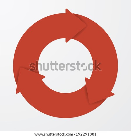 Vector red life cycle diagram. 3 Steps. - stock vector