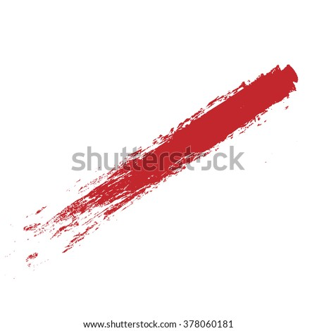 vector red, line, grunge brush strokes ink paint isolated on white background - stock vector