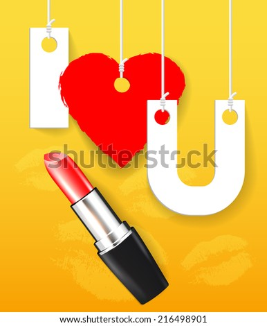 Vector red lipstick, space for your text - stock vector