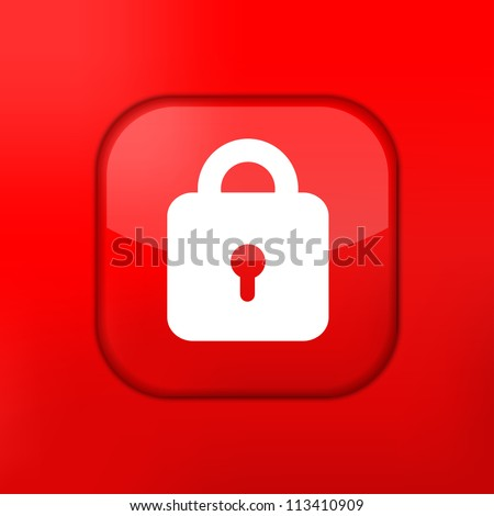 Vector red lock icon. Eps10. Easy to edit - stock vector