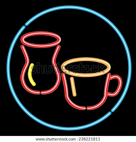 Vector red neon signs of coffee and tea with in a blue circle.  - stock vector