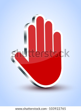 Vector red palm icon on blue background. Eps10 illustration - stock vector