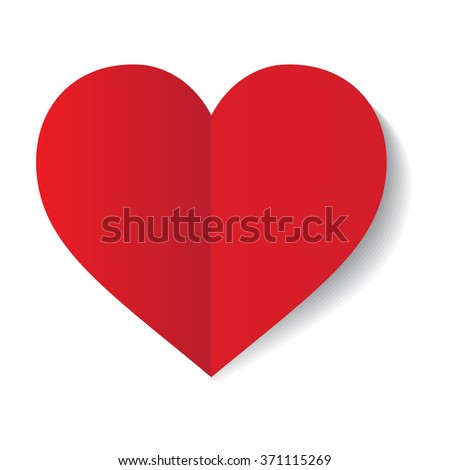vector red paper heart on white background - stock vector
