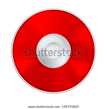 Vector Red Realistic CD Disk - stock vector