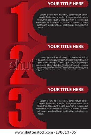 Vector red retro three step background with place for texs. Can be used for brochure, poster or flyer - stock vector