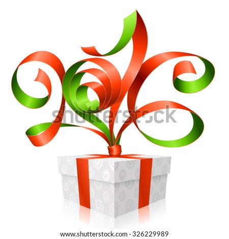 Vector red ribbon and gift box. Symbol of New Year 2016 - stock vector