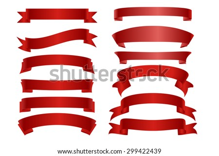 Vector Red ribbon banner flat collection. Vector frame with Place for your text. - stock vector