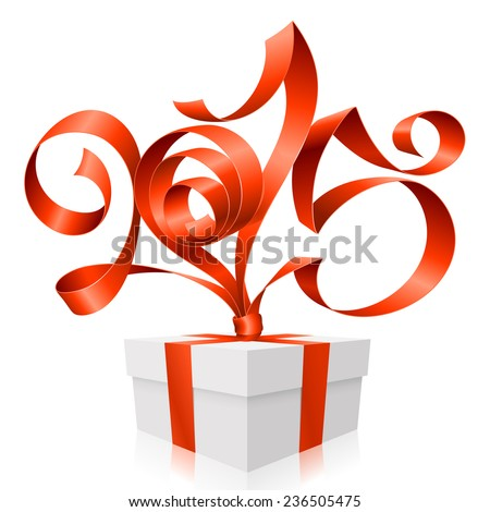 Vector red ribbon in the shape of 2015 and gift box. Symbol of New Year - stock vector
