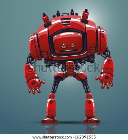 Vector red robot - stock vector