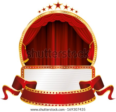 vector red round stage with billboard and blank banner - stock vector