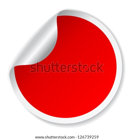 Vector red round sticker - stock vector