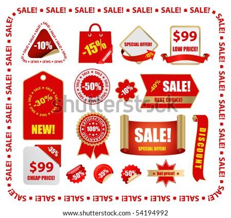 vector red sale design elements - stock vector