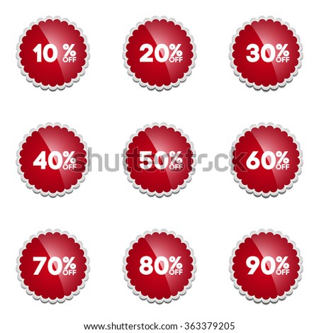 Vector: Red Sale 10 - 90 Percent OFF Discount Label Tag Isolated on White Background - stock vector
