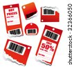 VECTOR Red Sales Tag with Space for text and barcode - stock vector