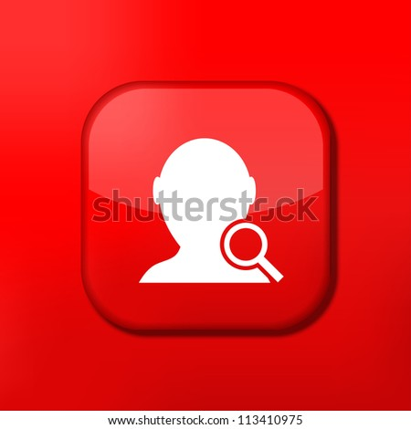 Vector red search friend icon. Eps10. Easy to edit - stock vector