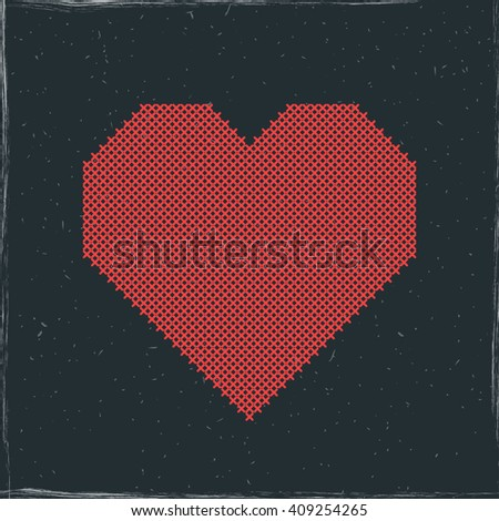 Vector red shape of heart embroidered cross on blackboard or chalkboard. Imitation of cross stitching. Design for crafters, scrapbooking, handmade. Valentines day greeting card. - stock vector