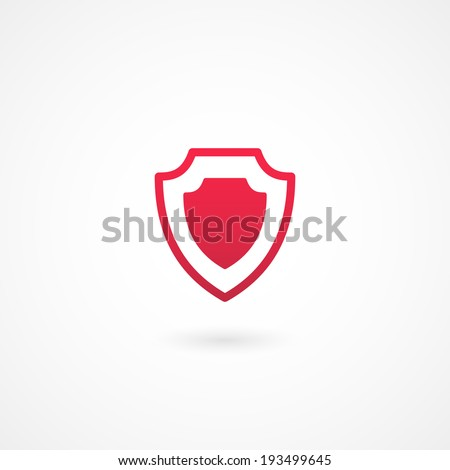 vector red shield or protection icon on white background - stock vector